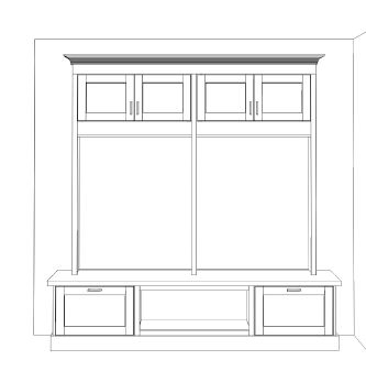 Mudroom cabinetry design for the MinnePHit House
